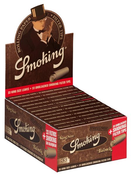 Smoking BROWN king size unbleached with tips pack of 24 units