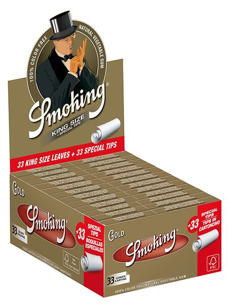 SMOKING GOLD KING SIZE WITH TIPS PACK OF 24 UNITS