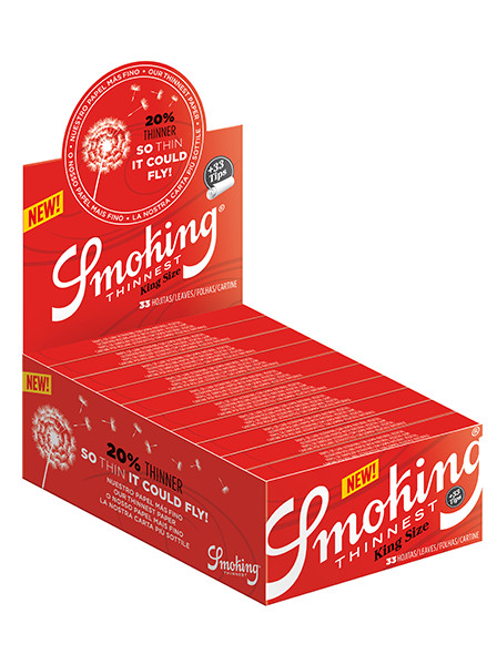 SMOKING THINNEST RED KING SIZE WITH TIPS PACK OF 24 UNITS